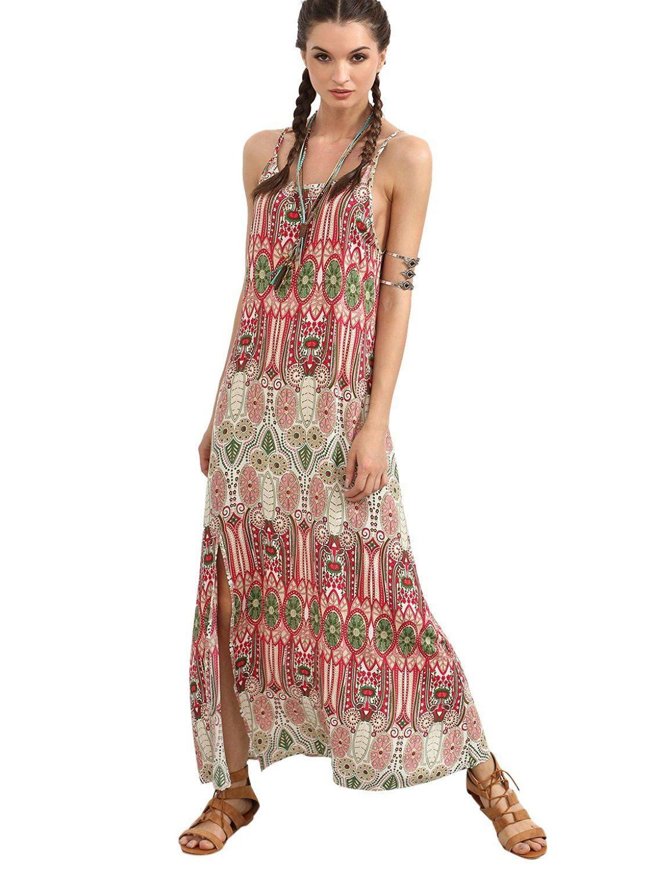 fcdc47cb6d52 Floerns Women s Boho Ethnic Print Sleeveless Split Maxi Dress Multicolor L  at… Vintage Prints