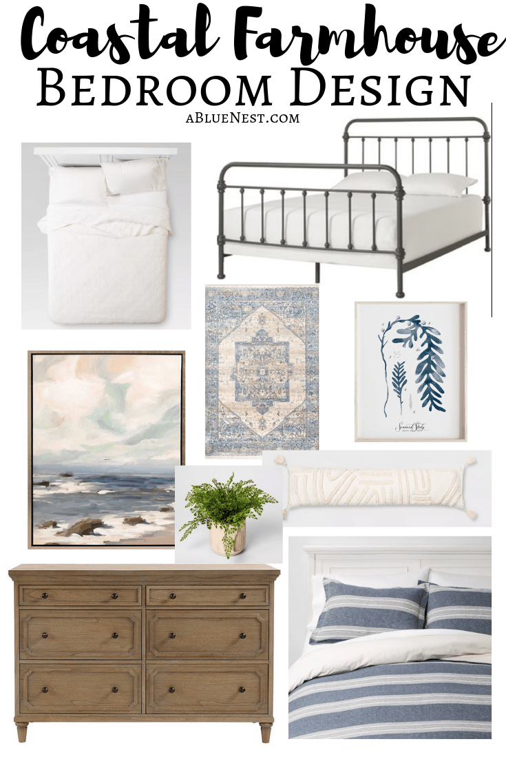 Coastal Farmhouse Bedroom Design - A Blue Nest