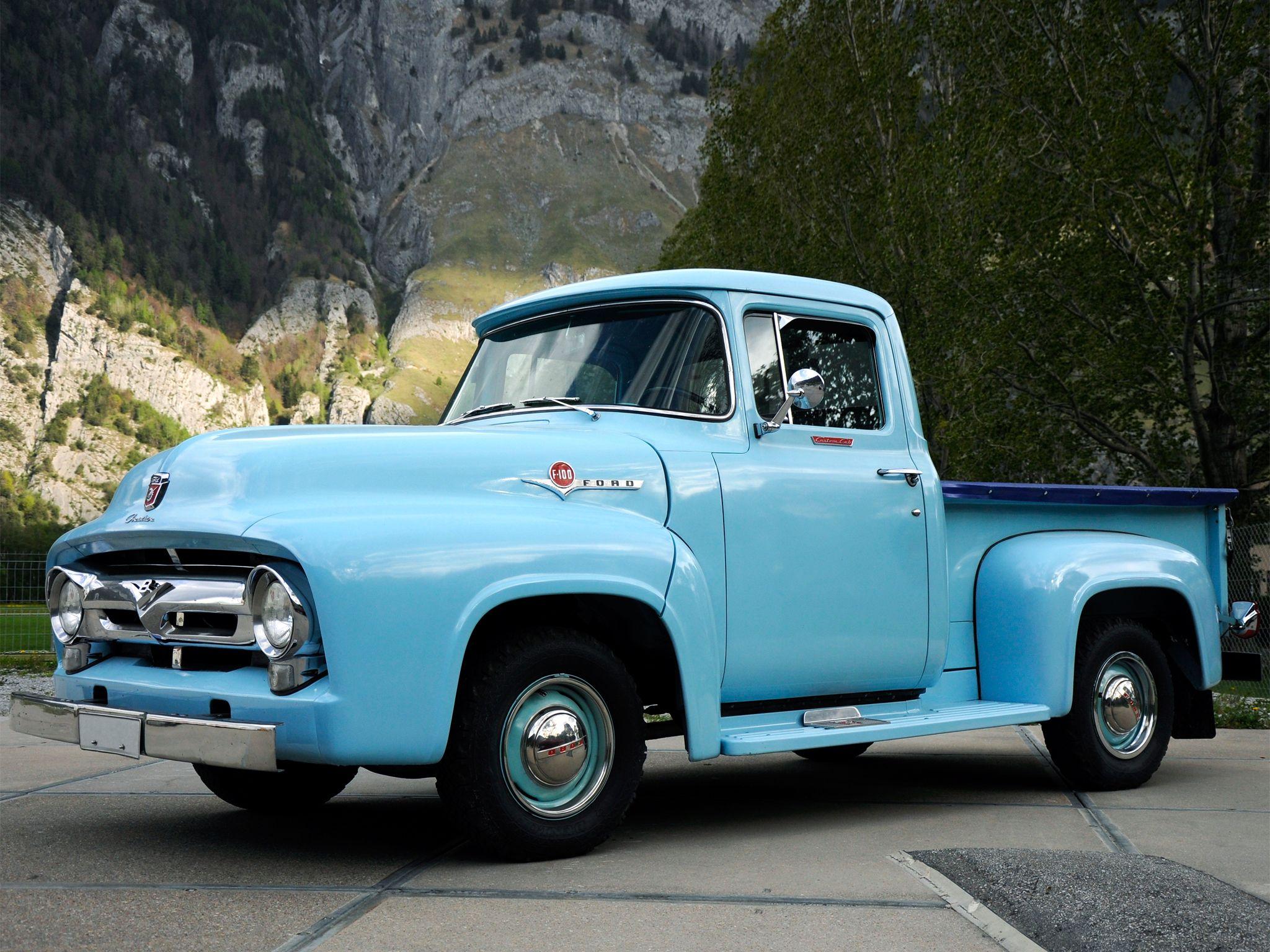 1956 Ford F 100 Custom Cab Pickup Retro H Wallpaper 2048x1536 142322 Vintage Pickup Trucks 1956 Ford Truck Vintage Trucks