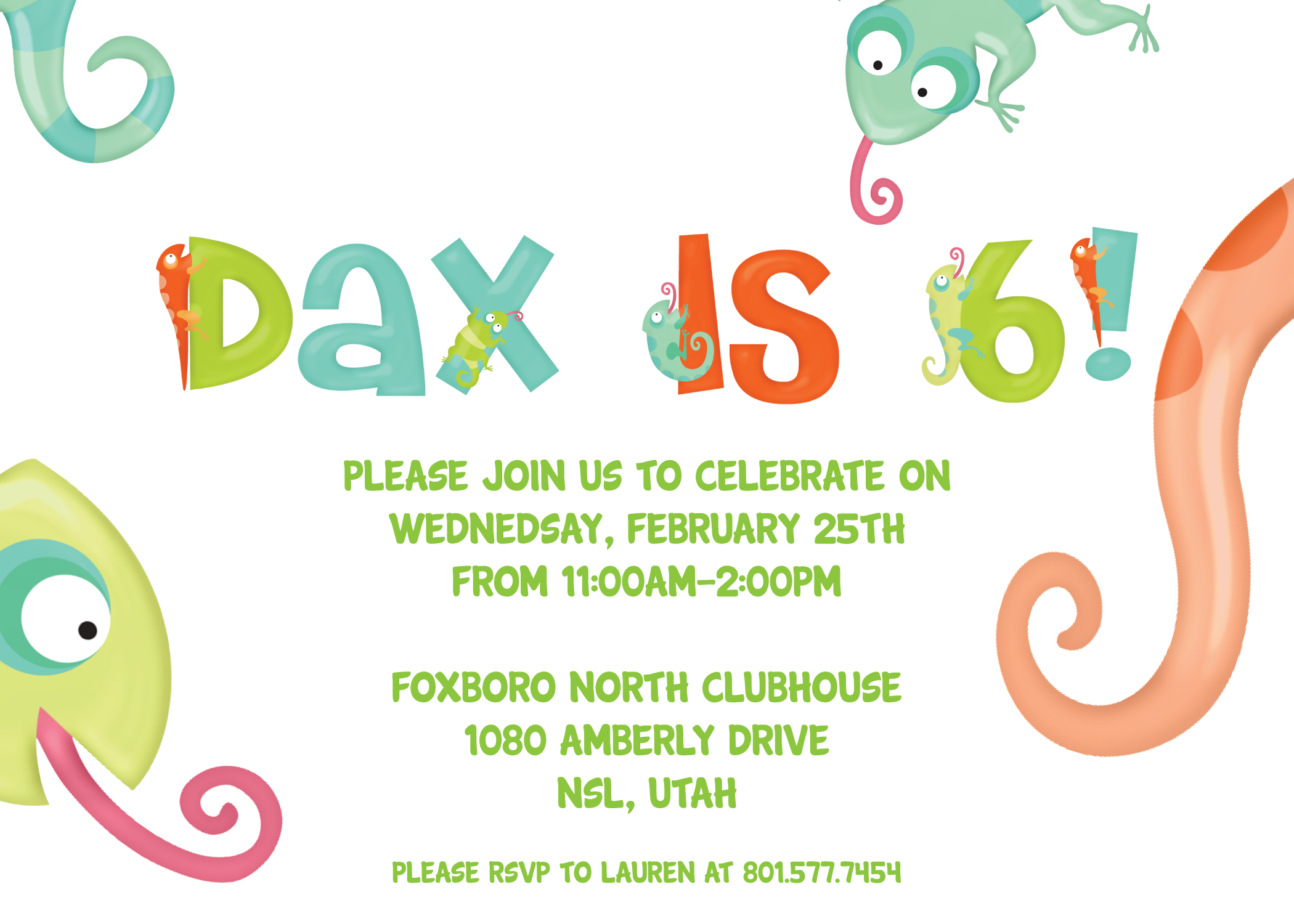 5th Birthday Invitations – Reptile Invitations Birthday