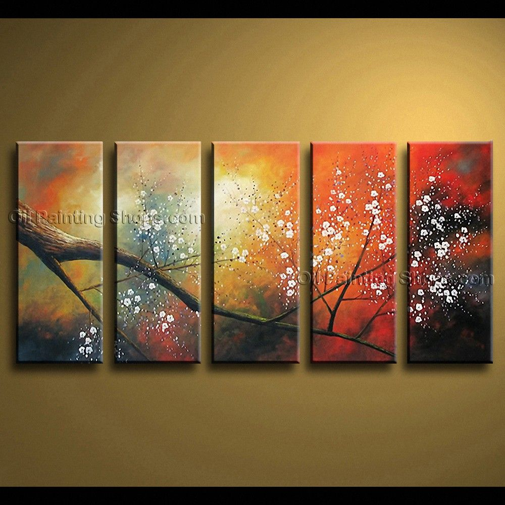 Large contemporary wall art floral painting cherry blossom oil on