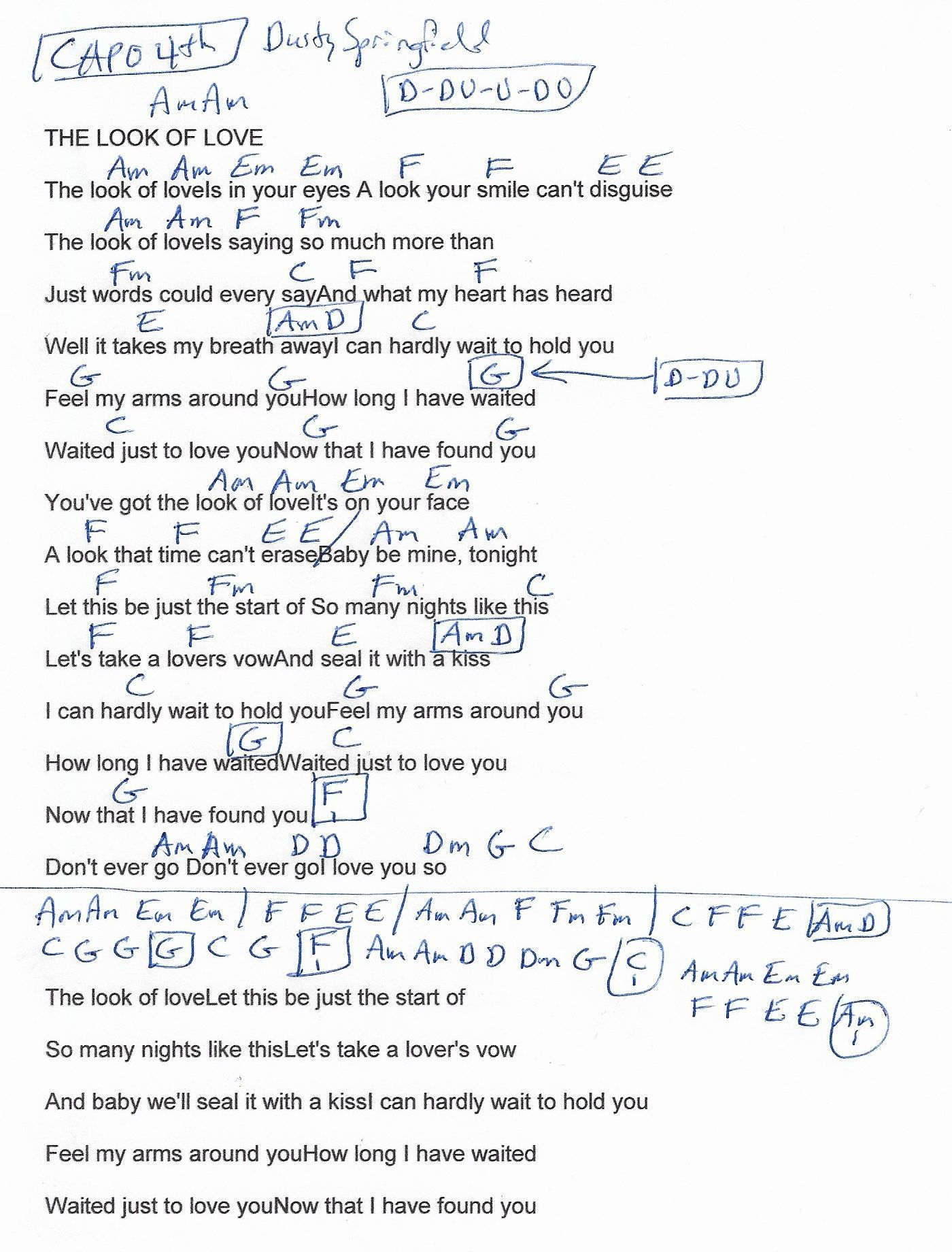 The Look Of Love Dusty Springfield Guitar Chord Chart Capo 4th