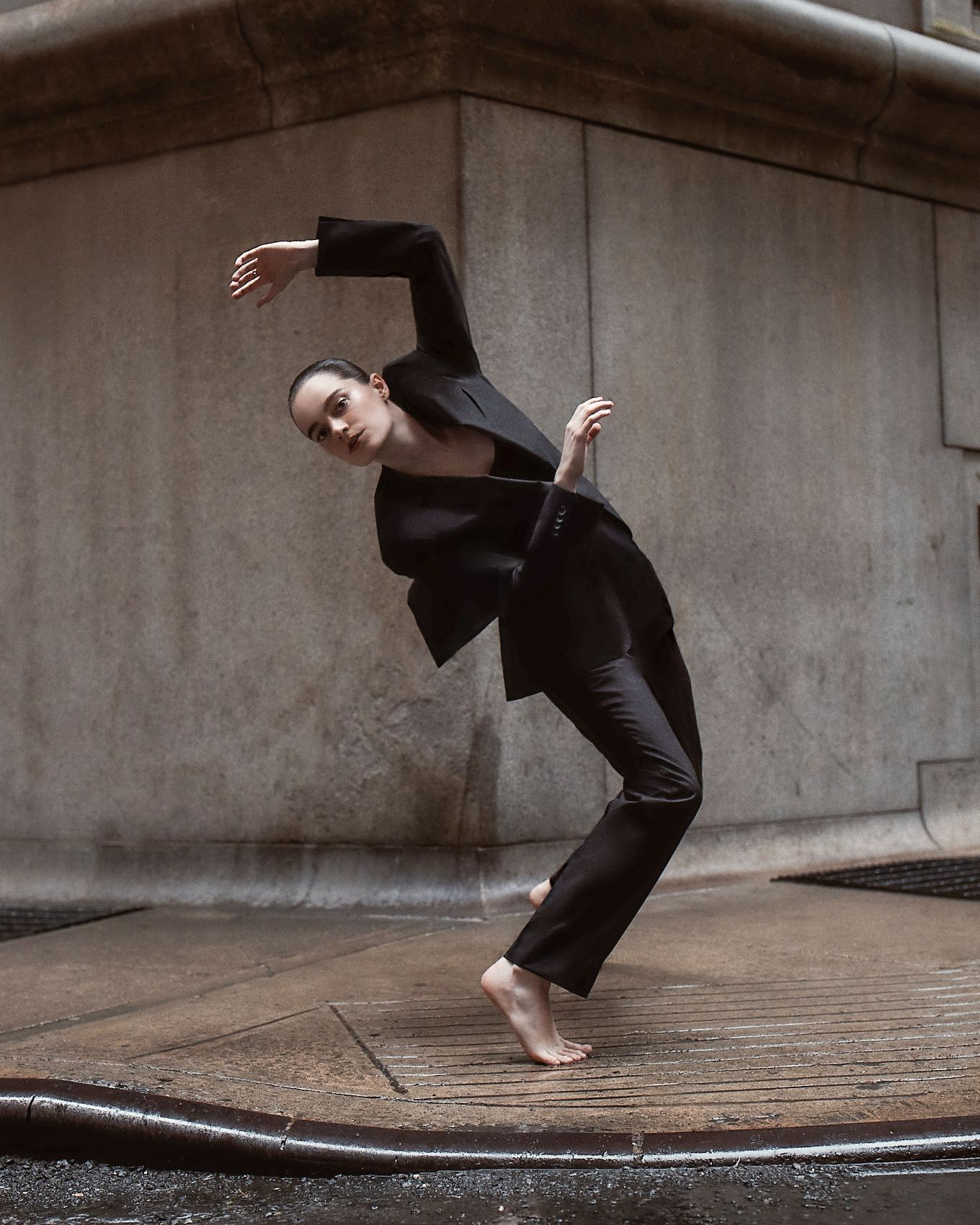 Shapes And Silhouettes Dancer Emma Portner Brings New Energy To Boss Tailoring Through Her Art Suitchallenge Suit Shop Boss Jersey Sweater