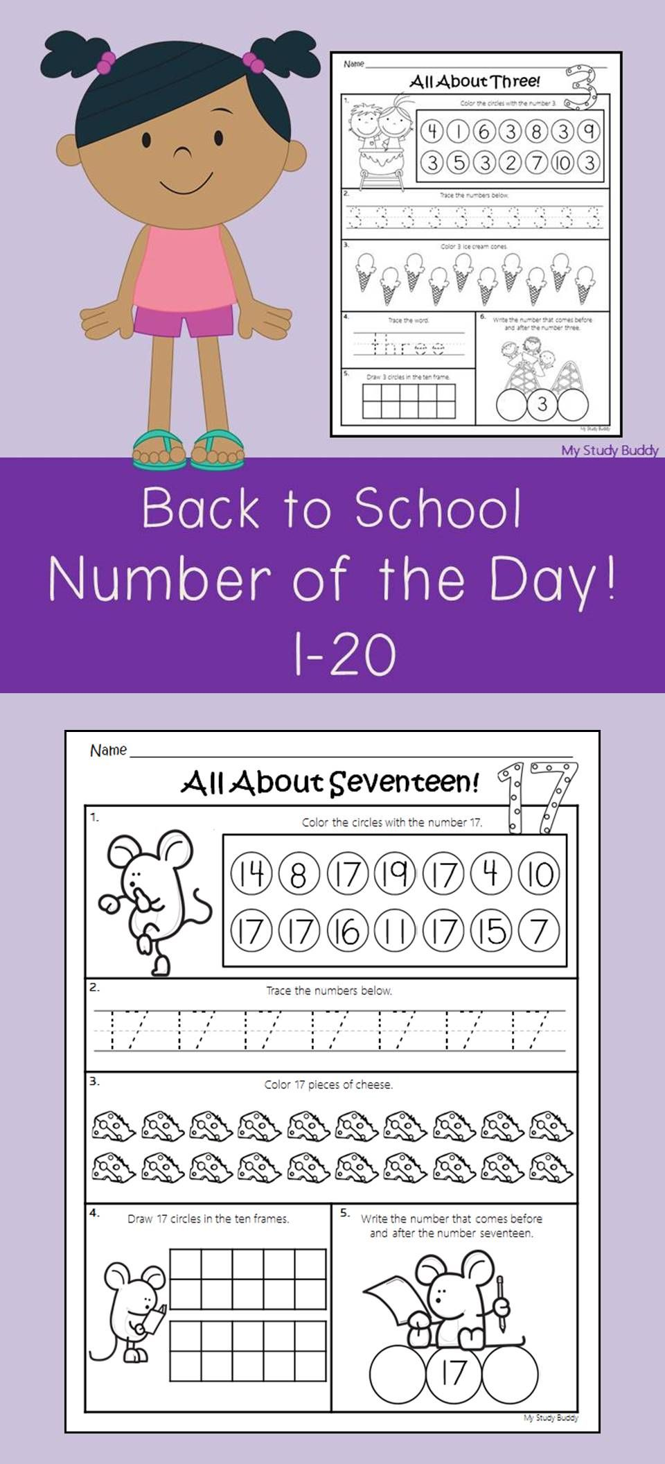 Back To School Number Of The Day Numbers 1 20 For Kindergarten