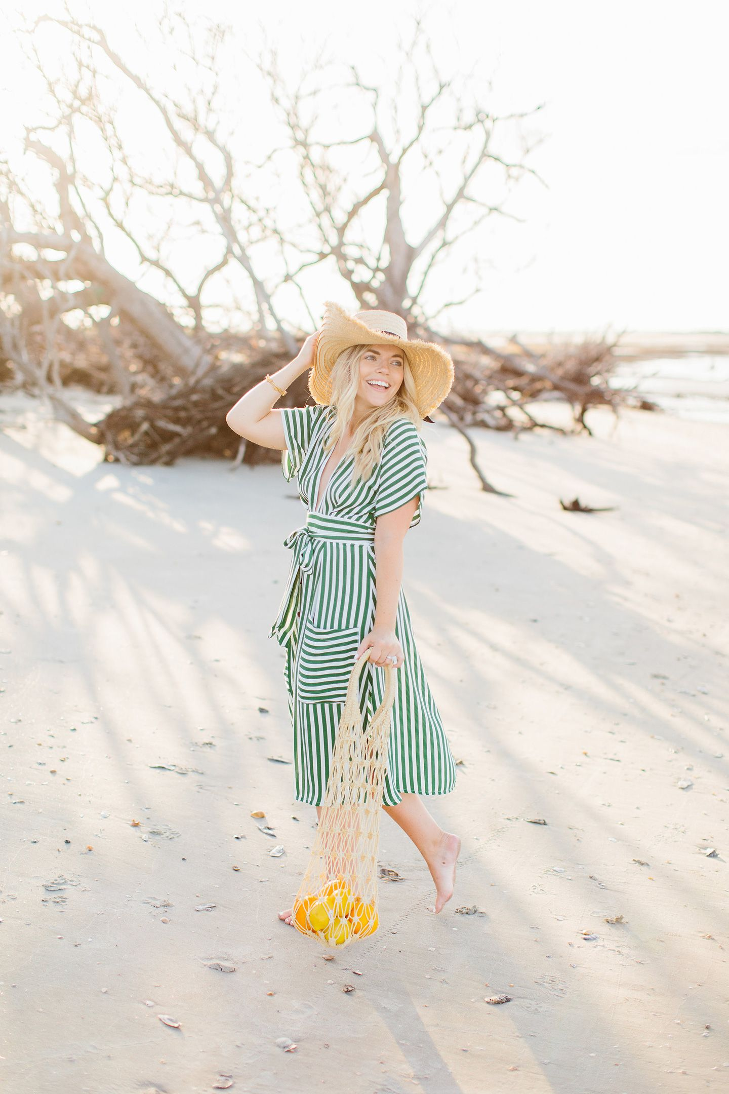 Color By K Green Striped Midi Dress By The Sea Green Stripes Striped Midi Dress Vacay Outfits [ 2160 x 1440 Pixel ]