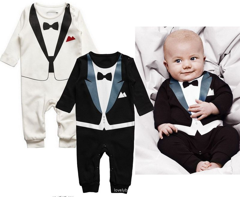 Tuxedo With Black Bow Tie Baby Boy Outfit Cute Baby Bodysuit Gift idea