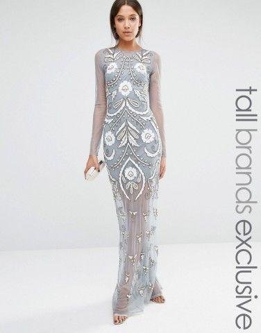Maya Tall Long Sleeve Mesh Maxi Dress With Floral Embellishment at ...