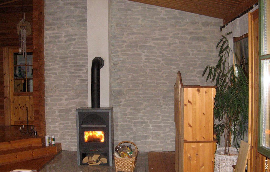 Schwedenofen wand steinoptik lajas gris kamin mit steinoptik pinterest wand - Wand mit steinoptik ...