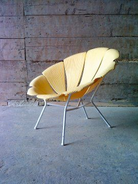 Anonymous Painted Metal And Rassin Indoor Outdoor Chair By Grosfillex C1960 Grosfillex Salon De Jardin Mobilier