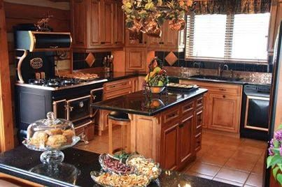 An inviting kitchen for recipes from www.backroadsliving.com blog - check it out. From your friends at Wholesale Log Homes Enjoy your day.  http://www.elmirastoveworks.com/