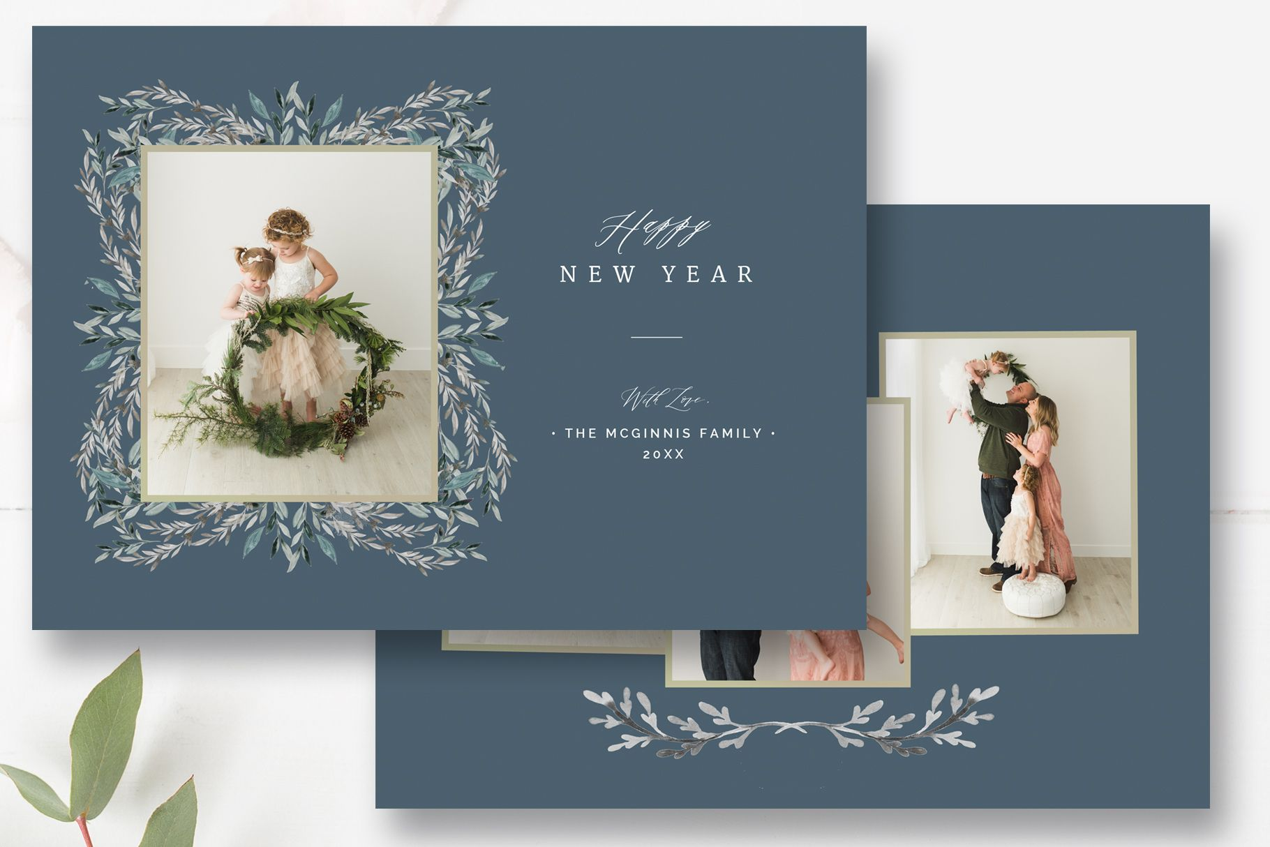 New Years Photo Card Template Happy Holidays Photoshop Template By Stephanie Design Photo Card Template Happy New Year Cards New Year Card