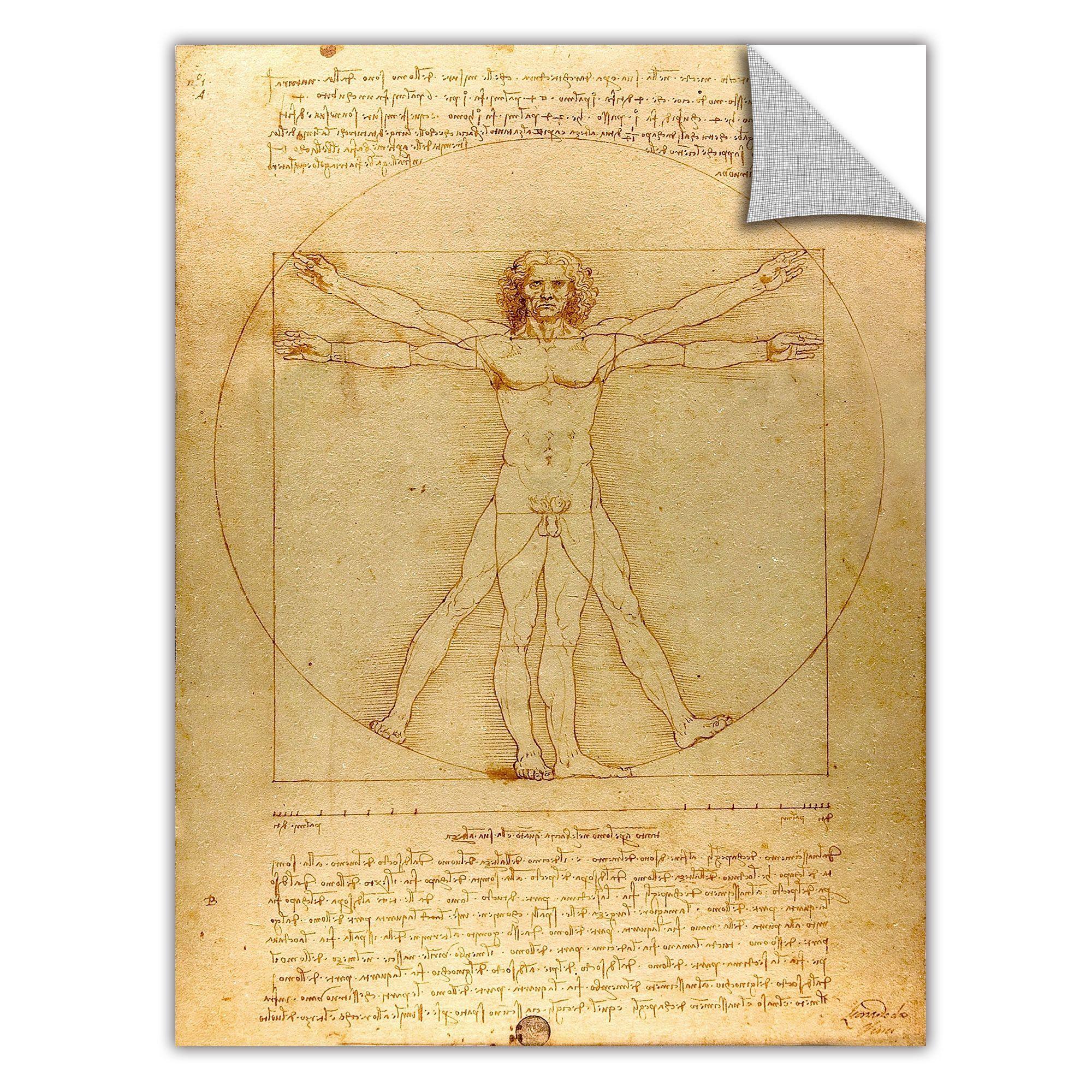 Vitruvian Man by Leonardo Davinci Painting Print | Painting prints ...