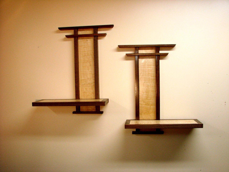 Asian influence wood shelf pair via etsy stuff to try
