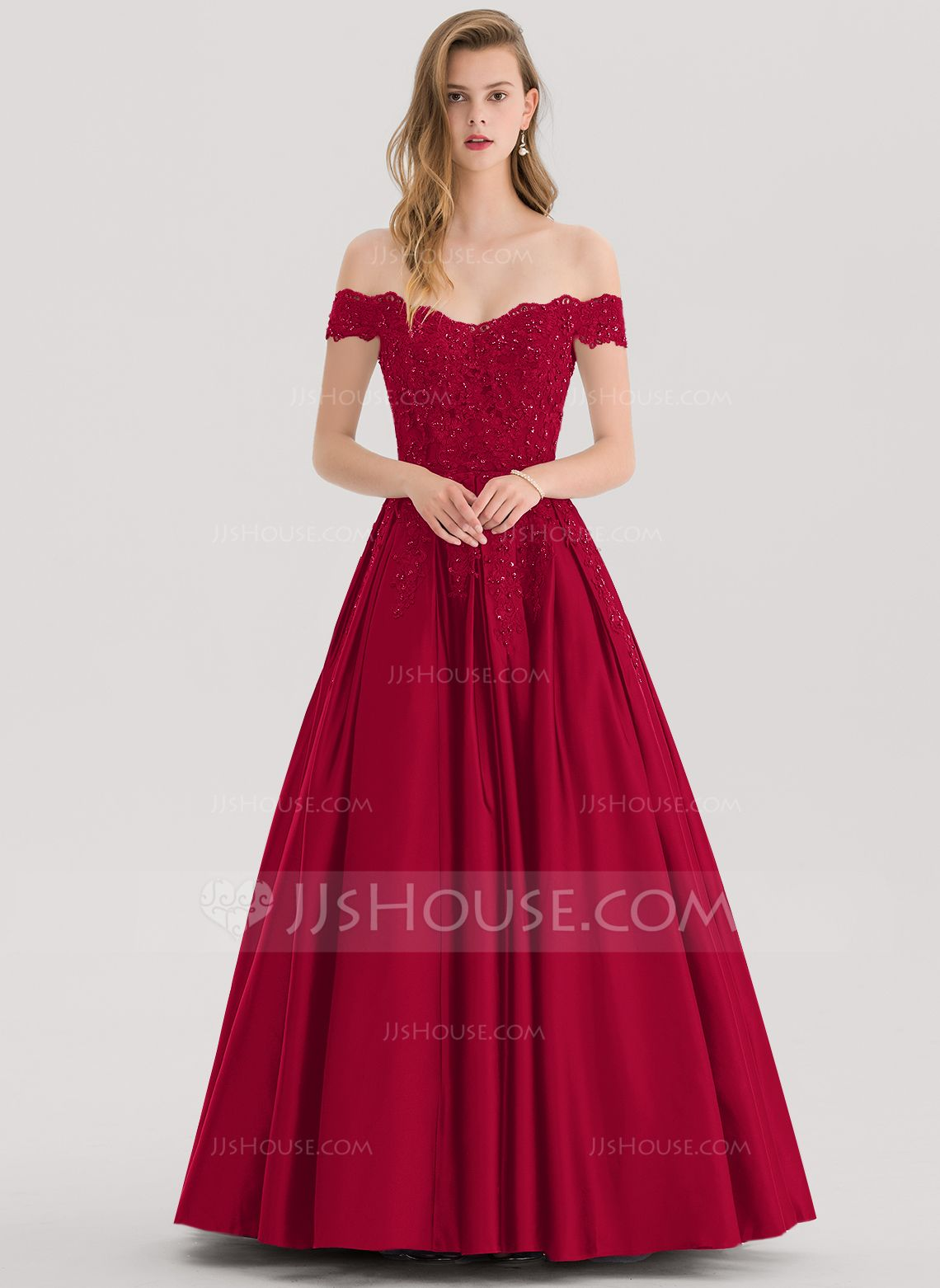 84069f18c2ee A-Line V-neck Floor-Length Satin Prom Dresses With Ruffle Pockets ...