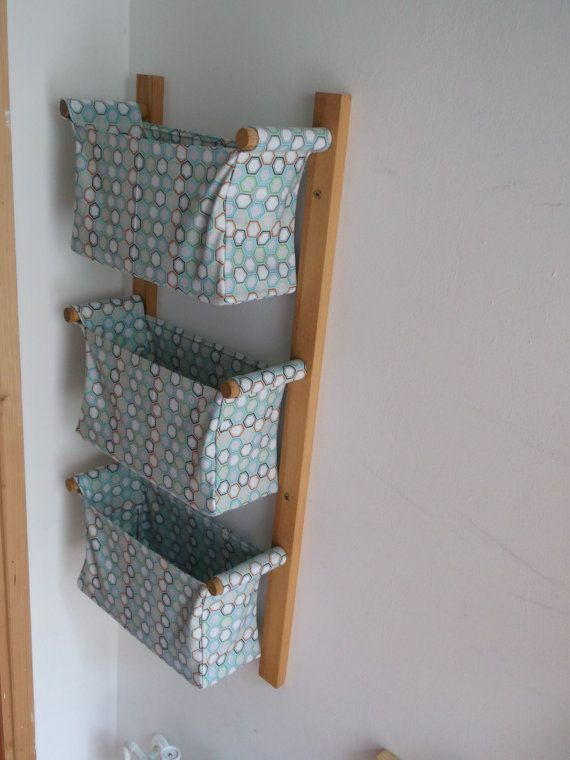SHIPPING INCLUDED / Wall Hanging Storage, Diaper Caddy   With 3 Baskets    Light Blue Baskets, Riley Blake Blue Hexagon Designer Fabric