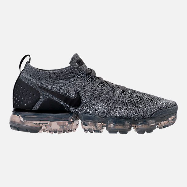 70c2ddb211a Right view of Womens Nike Air VaporMax Flyknit 2 Running Shoes in Dark Grey  White Wolf Grey Black