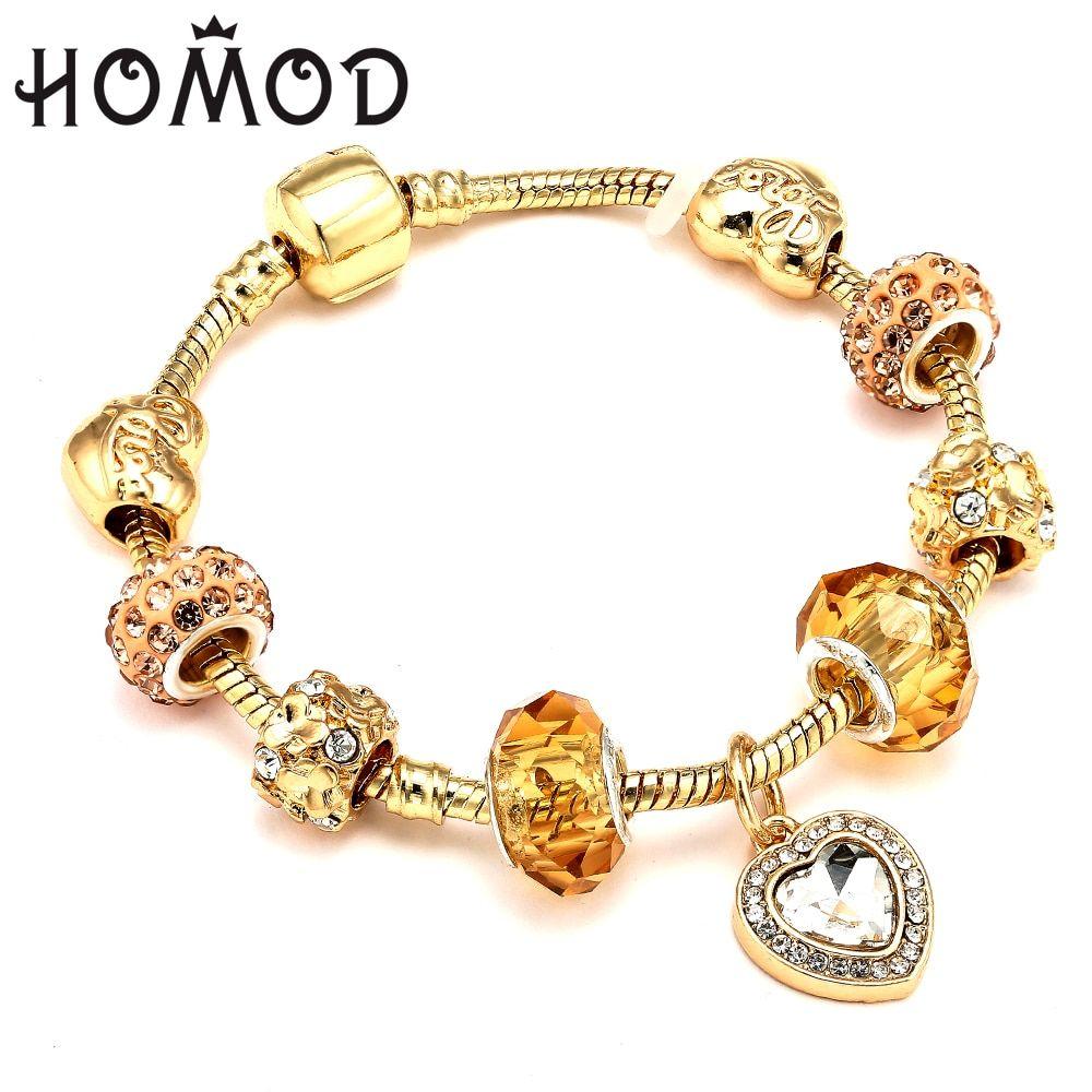 D Gold Color Charm Bracelet With Love Heart Crystal Pendant Fit Pandora Bracelets Women Wedding Jewelry Gift Review