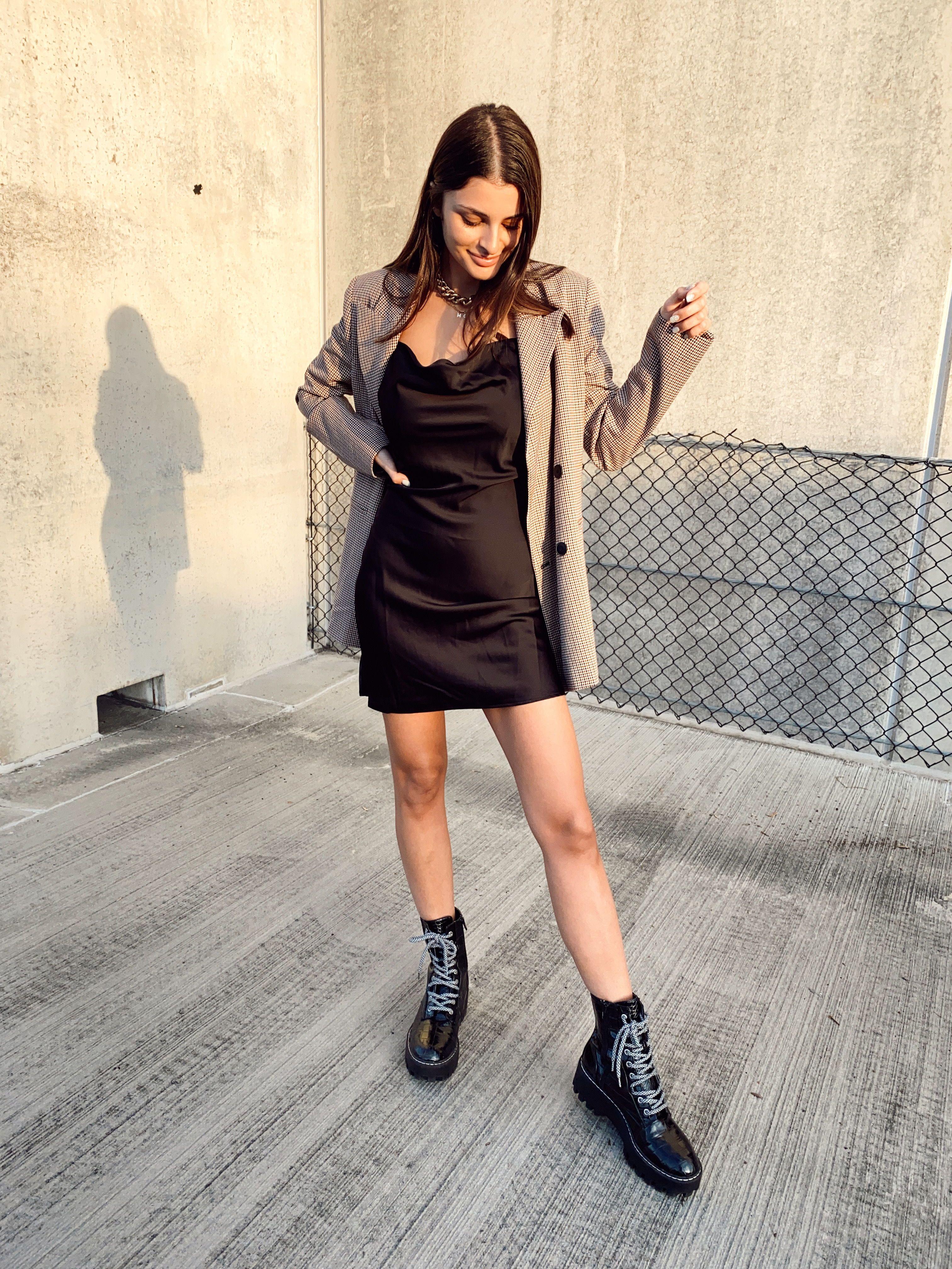 Black Slip Dress Plaid Blazer Black Slip Dress Slip Dress Outfit Black Slip Ons [ 4032 x 3024 Pixel ]