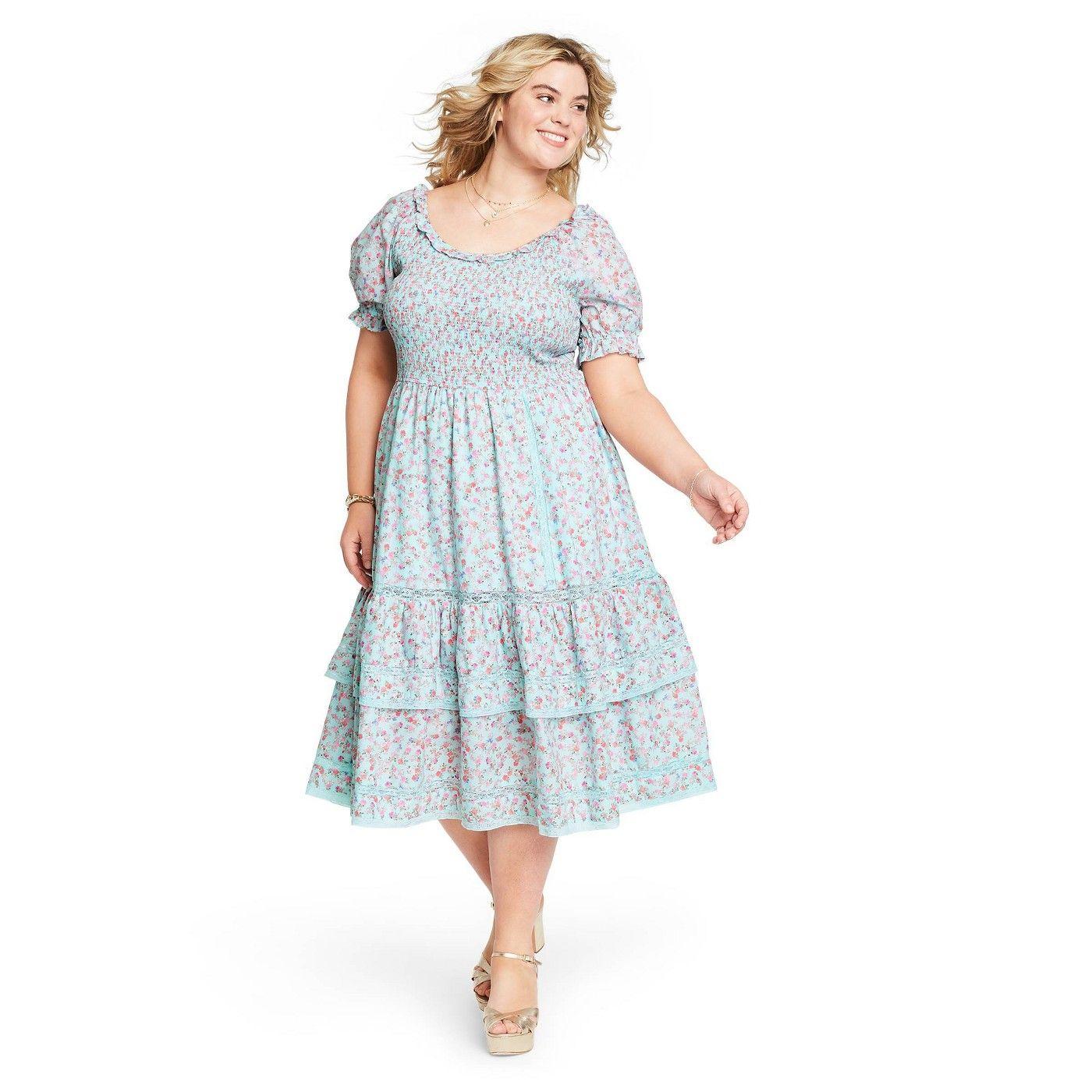 Women S Celeste Smocked Puff Sleeve Dress Loveshackfancy For Target Regular Plus Light B Puffed Sleeves Dress Puff Sleeve Dresses Midi Dress With Sleeves [ 1400 x 1400 Pixel ]