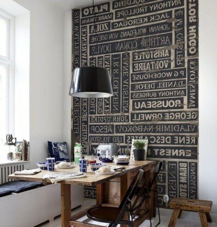 graue wandgestaltung schwarze lampe über dem tisch kleine küche