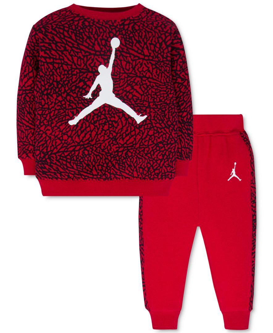 f73eb77252ca Jordan Baby Boys  2-Pc. Jumpman Sweatshirt   Pants Set