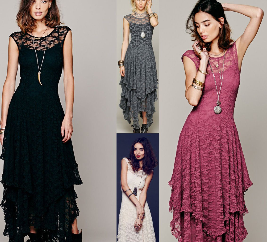 Women sexy lace gothic vintage dress formal bridesmaid wedding layer