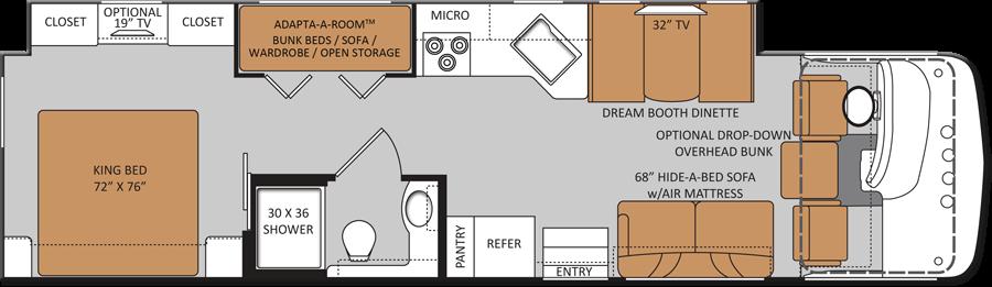 Class A Rv With Bunk Beds 34j Class A Bunkhouse