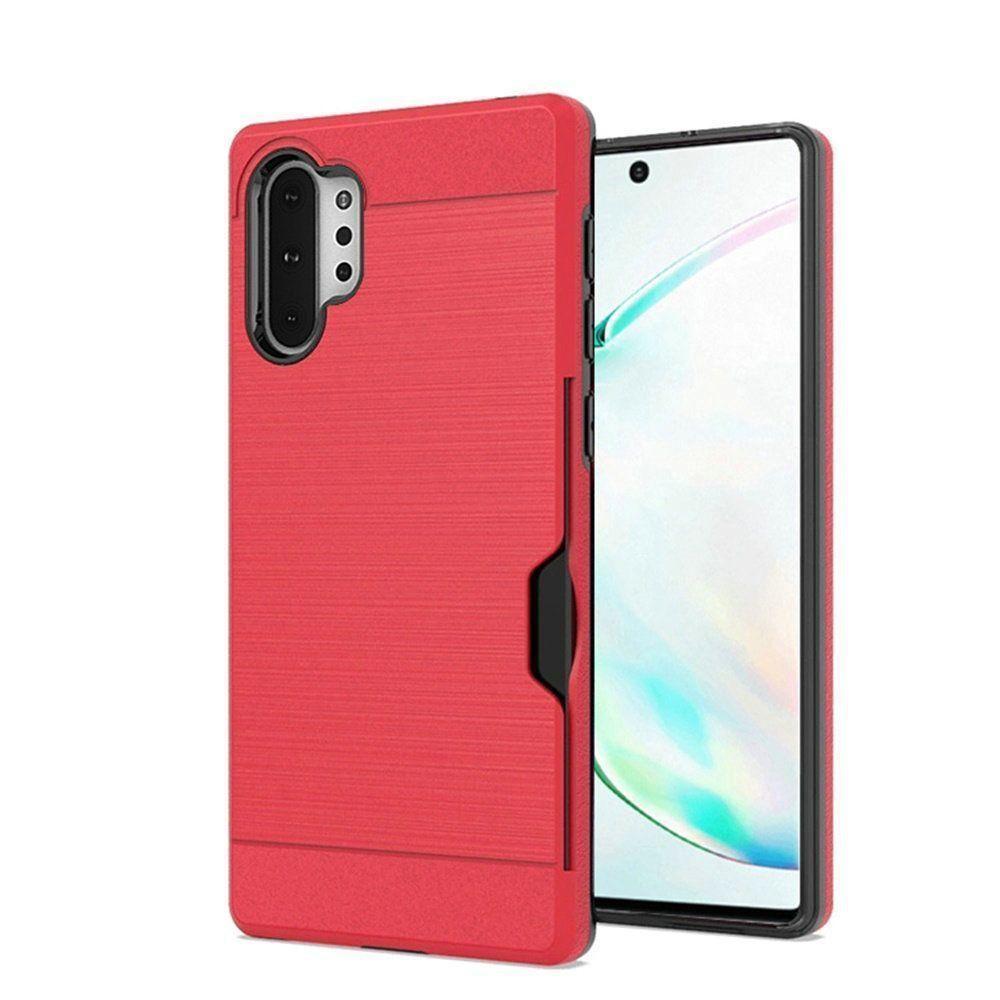 Side Card Holder Brushed Metal Hybrid Case, Red for Samsung Galaxy Not
