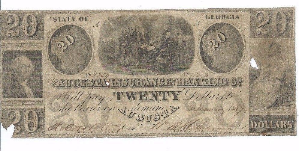 1847 Ausgusta Insurance Banking Co 20 Obsolete Note