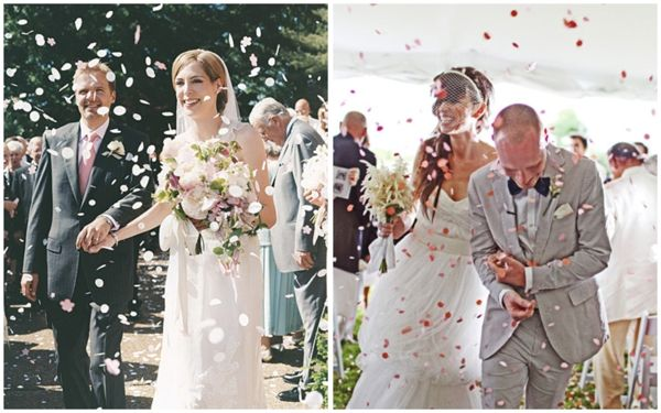Modern day recessional tosses include rose petals mini beach wedding confetti toss wedding recessional toss sendoff bride and groom exit getaway junglespirit Gallery