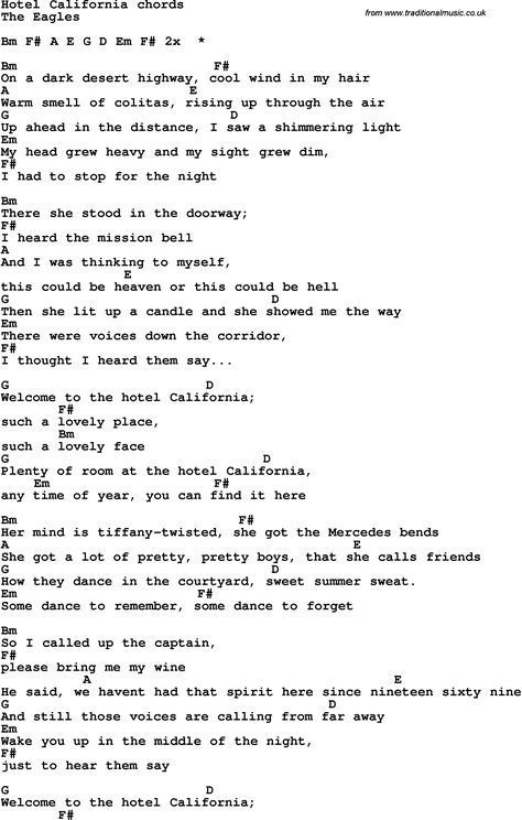 Song Lyrics With Guitar Chords For Hotel California Music