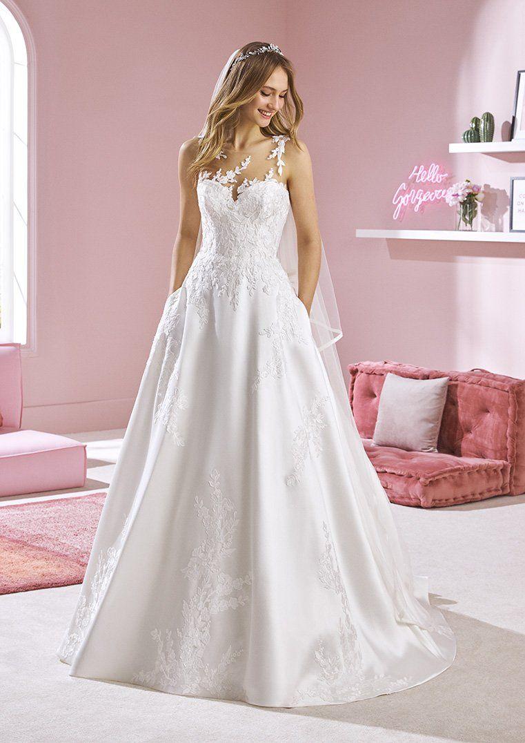 White One Zuzu Bridal Pronovias Wedding Dress A Line Sheer Illusion Lace Neckline In 2020 Illusion Neckline Wedding Dress Pronovias Wedding Dress Petite Wedding Dress