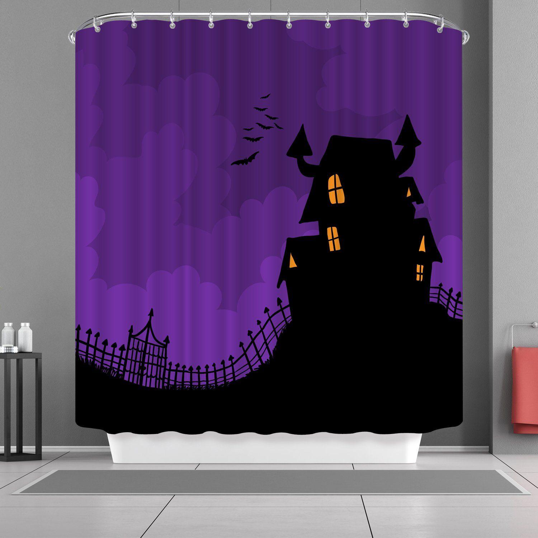 Vancar Happy Halloween Shower Curtain Purple Bathroom Waterproof