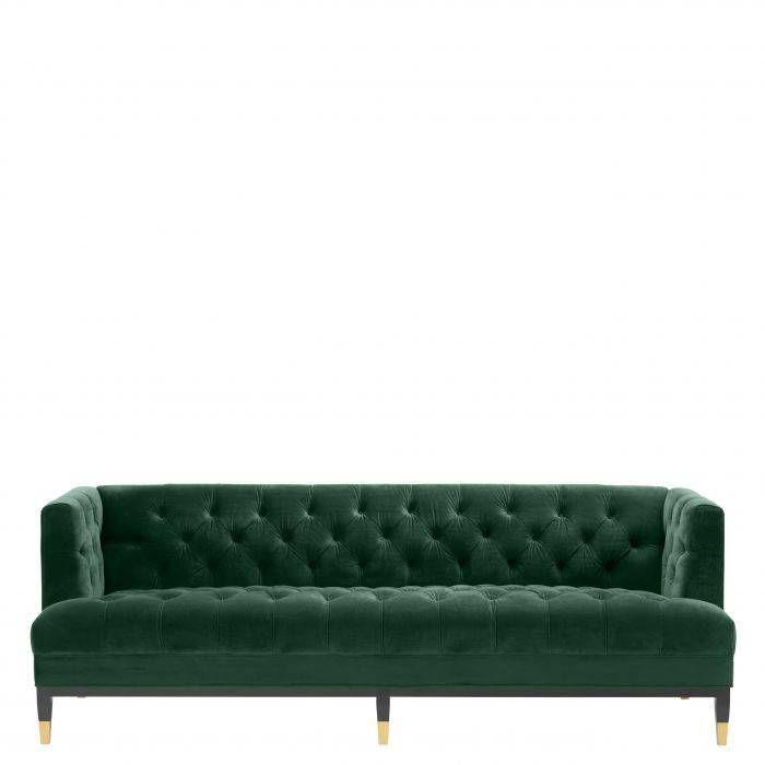 Green Velvet Tufted Sofa Eichholtz Castelle In 2020 Velvet