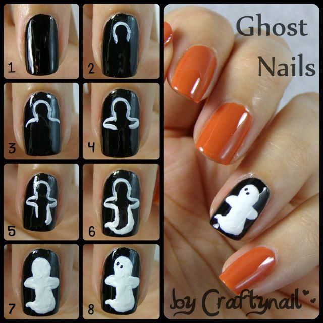 How To Do A Ghost On Your Nails Step By Step Tutorial Unas Unas De Halloween Unas Manos Y Pies