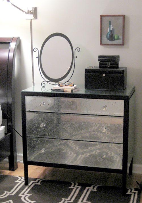 diy aged mirror dresser