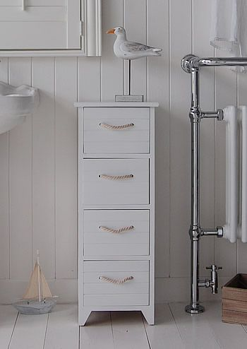 A White Wooden Painted Free Standing Slim Bathroom Cabinet With 4 Drawers And Nautical Rope White Bathroom White Bathroom Cabinets Wooden Bathroom Accessories