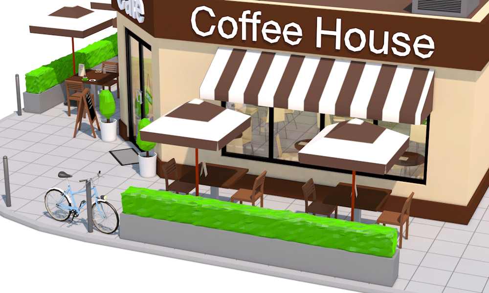Low Poly Coffee Shop Preview 3DOcean Restaurant