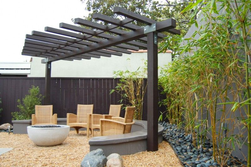Asian Patio Idea With Single Row Pergola In Black Rattan Chairs Gravel Floors Black Painted Priva Outdoor Pergola Backyard Pergola Backyard Landscaping Designs