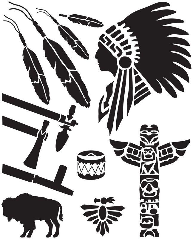 STENCIL Chief in Headdress   10x10