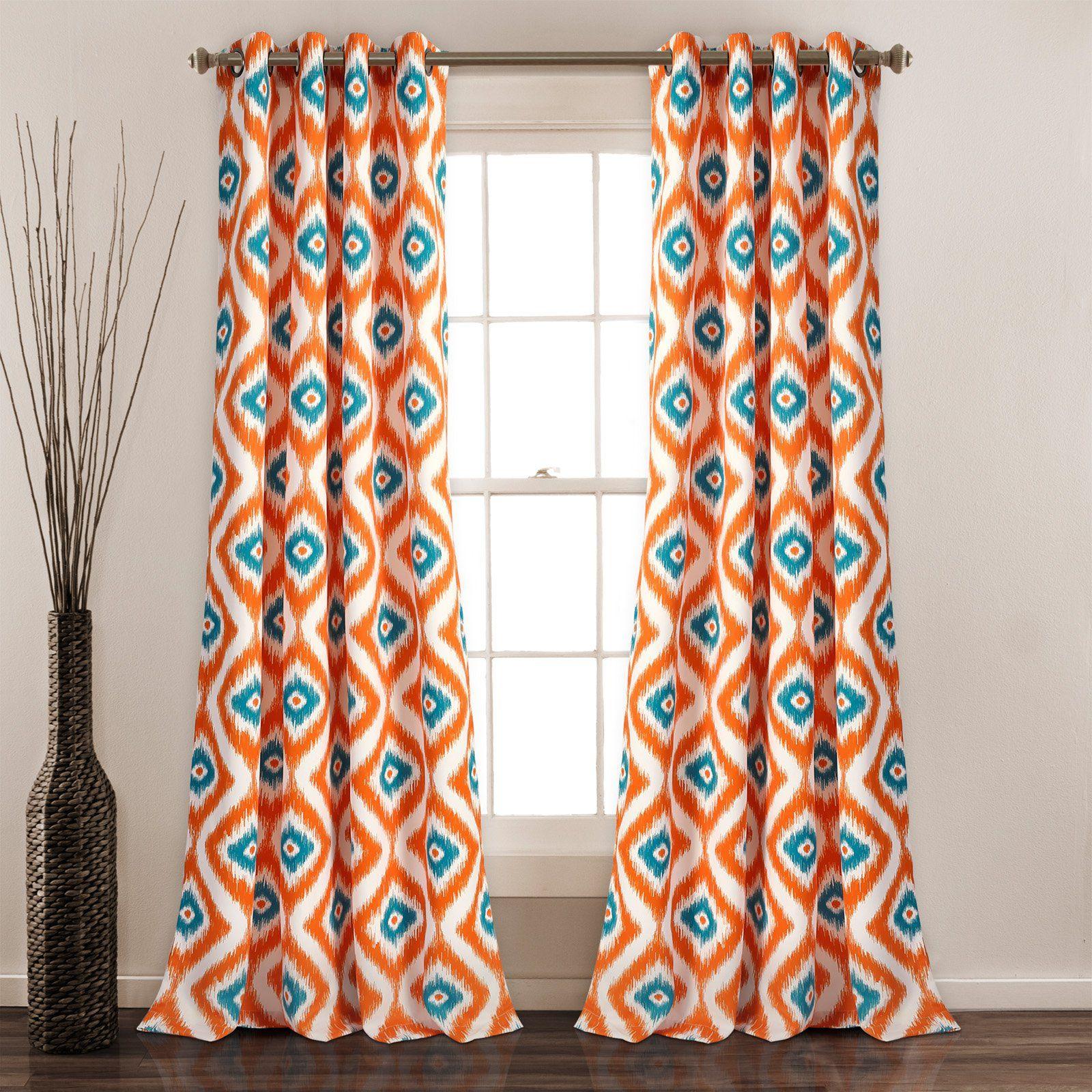 Blue Geometric Curtain Panel Set 90 Inch