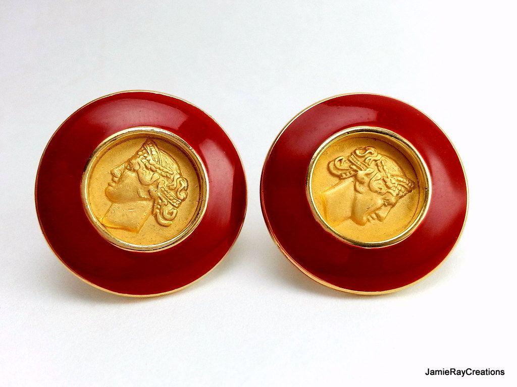 Vintage Monet Clip On Earrings Gold Plate Medallion Greek Roman Coin Red Enamel