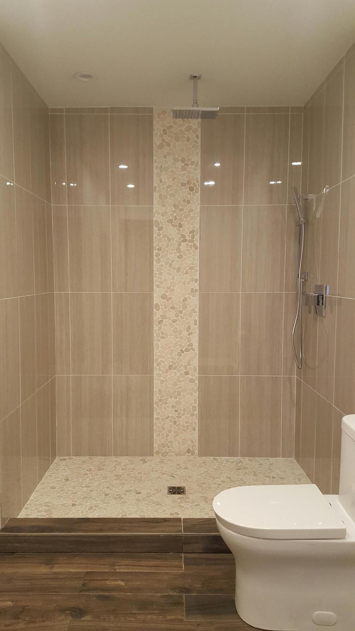 Sliced White Pebble Tile Luxury Shower