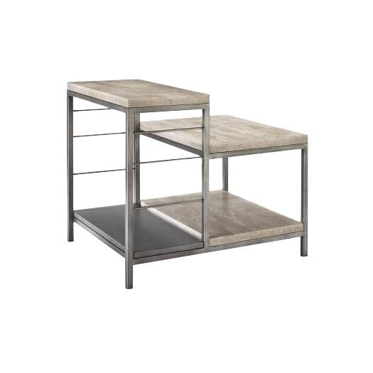 Best Homeware Sawyer Tiered End Table In Travertine Sofa End 400 x 300