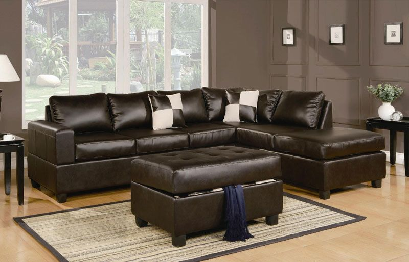 sacramento espresso leather sectional sofa with left facing chaise by urban cali
