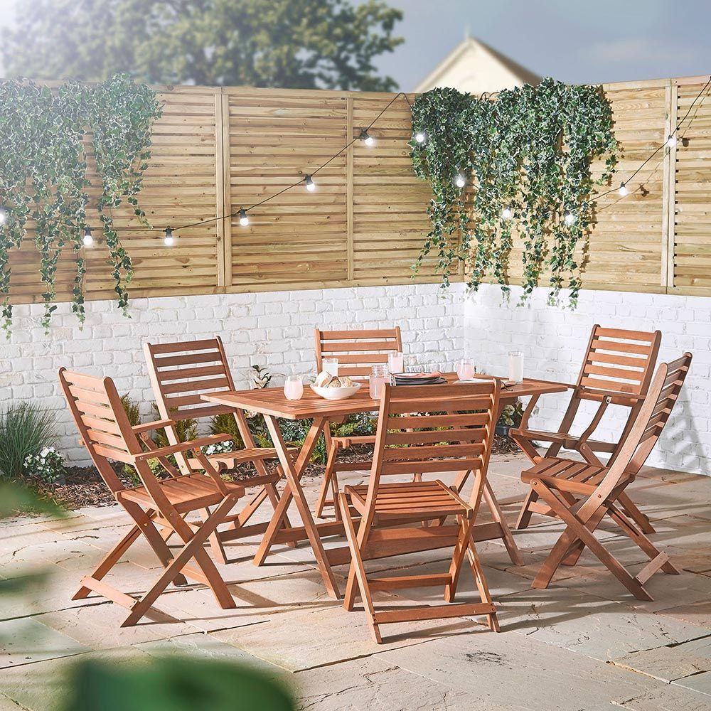 6 Seater Garden Wooden Dining Set Vonhaus Wooden Dining Set Outdoor Dining Set Wooden Garden Furniture