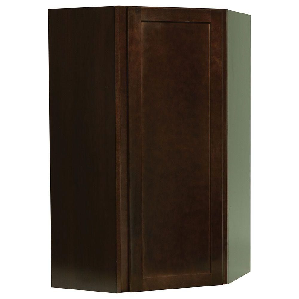 Hampton Bay Assembled 24x42x12 in. Shaker Wall Diagonal Corner Cabinet in Java-KWD2442-SJM - The Home Depot