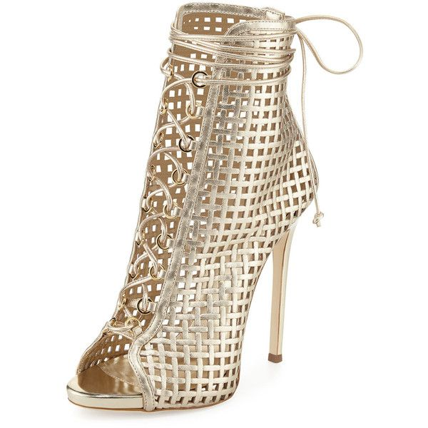 Giuseppe Zanotti Coline Caged 110mm Bootie (4.210 BRL) ❤ liked on Polyvore featuring shoes, boots, ankle booties, heels, gold, leather lace up boots, leather ankle boots, lace up ankle booties, leather boots and caged booties
