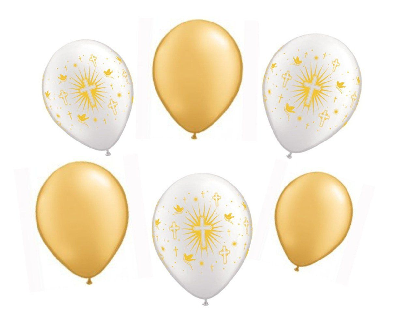 Helium//Air Balloons Pearl White//Gold Cross//Doves Christening Communion Baptism