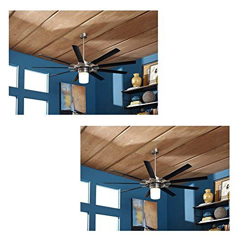 Set Of 2 Harbor Breeze Slinger 72 In Brushed Nickel Downrod Mount Ceiling Fan With Light Kit And Remote Energy Sta Ceiling Fan Ceiling Fan With Light Fan Light